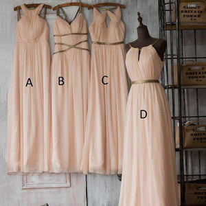 Elegant Pale Pink Four Styles  A-Line Sleeveless Chiffon Bridesmaid Dresses Prom Dresses - NICEOO