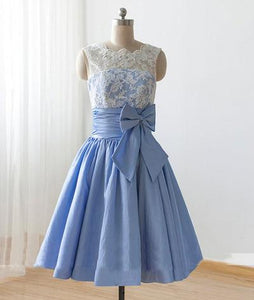 Cute Blue A Line Round Neck Sleeveless Mini Lace Bridesmaid Dresses Best Prom Dresses With Bow - NICEOO