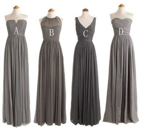 Elegant Gray Four Styles A Line Sleeveless Sweetheart Chiffon Bridesmaid Dresses Prom Dresses - NICEOO