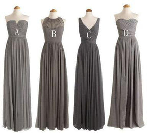 Simple Gray Four Styles A Line Sleeveless Sweetheart Chiffon Bridesmaid Dresses Cheap Prom Dresses