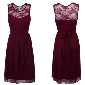 Fashion Burgundy Round Neck Sleeveless Slim Line Lace Bridesmaid Dresses Prom Dresses - NICEOO