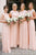 Simple Pink Round Neck Sleeveless Chiffon Bridesmaid Dresses