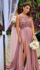 Elegant Pink A Line Sleeveless Side Split Chiffon Bridesmaid Dresses Evening Dresses - NICEOO