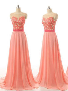 Sweet Pink A Line Sleeveless Sweetheart Appliques Chiffon Bridesmaid Dresses Evening Dresses