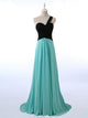 Unique Blue A Line One Shoulder Sweetheart Long Chiffon Prom Dresses Evening Dresses