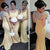 Sexy Yellow Slim Line Round Neck Open Back Mermaid Satin Prom Dresses Evening Dresses - NICEOO