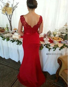 Sexy Red V Neck Empire Waist Slim-Line Lace Prom Dresses Evening Dresses