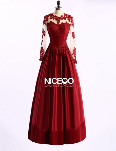 4fa0b34fefe Red A Line Round Neck Long Sleeves Prom Dresses Satin Evening Dresses -  NICEOO