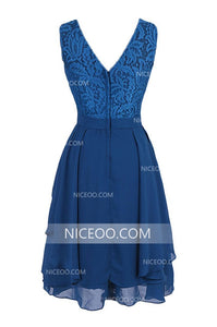 Navy Blue A Line Mini Prom Dresses Chiffon Homecoming Dresses - NICEOO