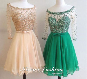 Simple A Line Round Neck Long Sleeves Mini Homecoming Dresses Cocktail Dresses With Beading