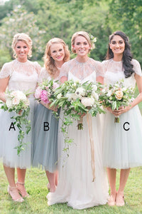 Round Neck Cap Sleeves Tulle Bridesmaid Dresses Affordable Homecoming Dresses - NICEOO