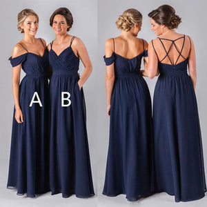 Simple Navy Blue Spaghetti Strap  A-Line Two Styles Chiffon Formal Dresses Evening Dresses