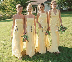 Elegant Yellow Four Styles Slim Line Chiffon Bridesmaid Dresses Prom Dresses - NICEOO