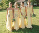 Elegant Yellow Four Styles Slim Line Chiffon Bridesmaid Dresses Affordable Prom Dresses