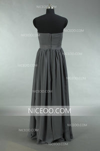 Elegant Dark Gray Sweetheart Sleeveless Chiffon Bridesmaid Dresses Prom Dresses - NICEOO
