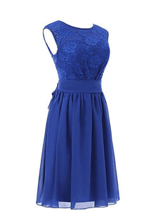 Sexy Royal Blue A Line Round Neck Open Back Lace Bridesmaid Dresses Prom Dresses