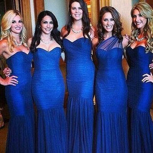 Sexy Royal Blue Sweetheart Mermaid Long Satin Prom Dresses Evening Dresses