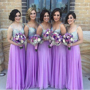 Unique Purple A Line Sweetheart Spaghetti Strap Chiffon Bridesmaid Dresses Prom Dresses