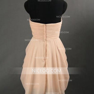 Sexy Pale Pink Strapless Slim Line Knee Length Chiffon Bridesmaid Dresses Prom Dresses - NICEOO