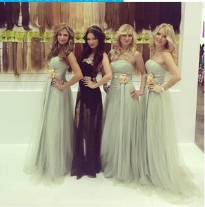 Elegant Bean Green A Line Strapless Open Back Tulle Bridesmaid Dresses Prom Dresses - NICEOO
