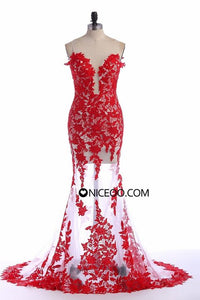 Sexy Deep V Neck Long Slim Line Prom Dresses Lace Evening Dresses With Appliques - NICEOO