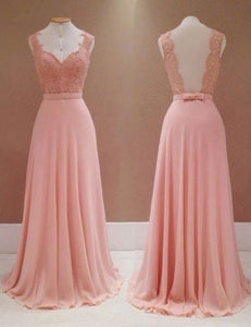Sexy Salmon Sweetheart Strap Open Back Chiffon Bridesmaid Dresses Evening Dresses - NICEOO