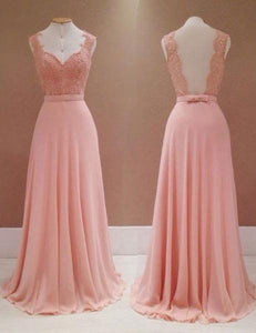 Sexy Salmon Sweetheart Strap Open Back Chiffon Bridesmaid Dresses Evening Dresses