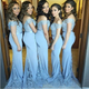 Sexy Light Blue Sweetheart Off Shoulder Mermaid Satin Bridesmaid Dresses Evening Dresses