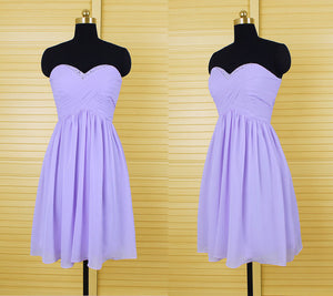 Cute Lilac A Line Sweetheart Sleeveless Mini Chiffon Bridesmaid Dresses Prom Dresses - NICEOO