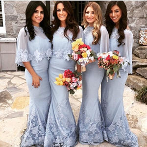 Sexy Light Blue Two Pieces V Neck Mermaid Satin Bridesmaid Dresses Long Prom Dresses