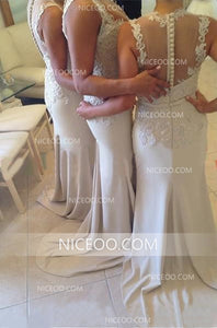 Sexy Ivory Strap Sweetheart Mermaid Side Split Satin Bridesmaid Dresses Prom Dresses - NICEOO