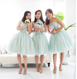 Cute Pale Green A Line Strapless Knee Length Tulle Bridesmaid Dresses Prom Dresses - NICEOO