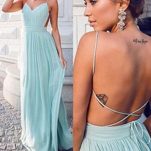 Sexy Tiffany Blue Spaghetti Strap Open Back Chiffon Bridesmaid Dresses Evening Dresses