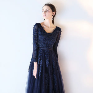 Navy Blue Long Sleeve Lace Appliques Prom Dresses With Beaded