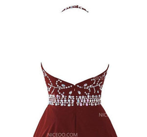Halter Open Back Chiffon Homecoming Dresses Cocktail Dresses With Rhinestones