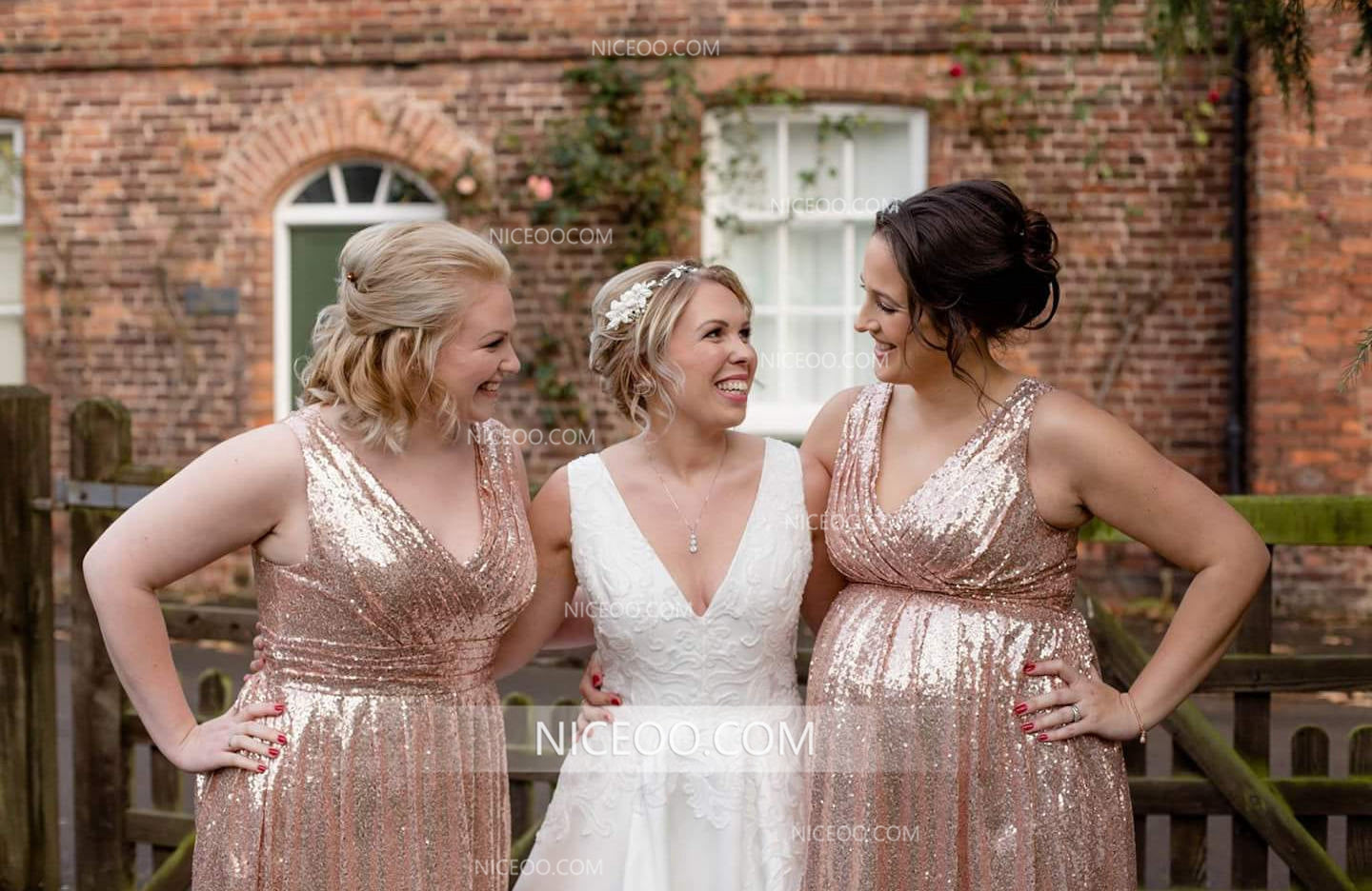 Rose Gold V Neck Strap Long Sequin Plus Size Bridesmaid Dresses | Niceoo