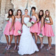 Sweet Pink A Line Sleeveless Sweetheart Knee Length Chiffon Bridesmaid Dresses Evening Dresses - NICEOO