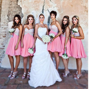 Sweet Pink A Line Sleeveless Sweetheart Knee Length Chiffon Bridesmaid Dresses Evening Dresses