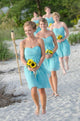 Sweet Light Blue A Line Strapless Knee Length Chiffon Bridesmaid Dresses Prom Dresses