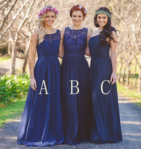 Elegant Navy Blue Three Styles A Line Sleeveless Chiffon Bridesmaid Dresses Evening Dresses - NICEOO