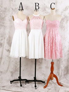 Cute Pink Three Styles A Line Sleeveless Mini Chiffon Homecoming Dresses Prom Dresses - NICEOO