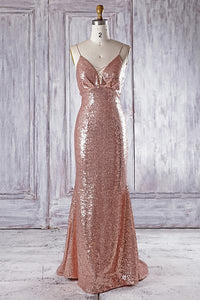 Sexy Rose Gold V Neck Spaghetti Strap Sequin Bridesmaid Dresses Prom Dresses