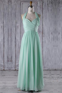 Elegant Light Green Halter Sweetheart Chiffon Bridesmaid Dresses Prom Dresses - NICEOO