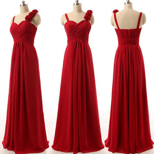 Fashion Red A Line Spaghetti Strap Swetheart Chiffon Bridesmaid Dresses Prom Dresses
