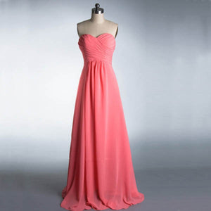 Elegant Pink A Line Strapless Empire Waist Chiffon Bridesmaid Dresses Prom Dresses - NICEOO