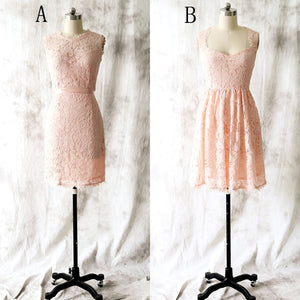 Cute Blush Pink Two Styles Sleeveless Knee Length Lace Bridesmaid Dresses Prom Dresses - NICEOO