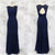 Elegant Navy Blue Slim Line Round Neck Sleeveless Lace Prom Dresses Military Ball Dresses - NICEOO