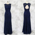 Elegant Navy Blue Slim Line Round Neck Sleeveless Lace Prom Dresses Military Ball Dresses