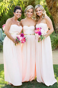 Simple A Line Sweetheart Long Bridesmaid Dresses