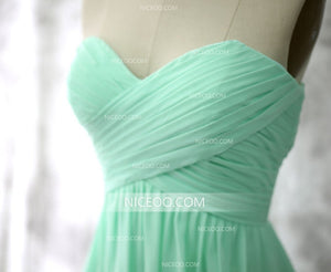 Cute A Line Mint Green Sweetheart Mini Chiffon Bridesmaid Dresses Evening Dresses - NICEOO